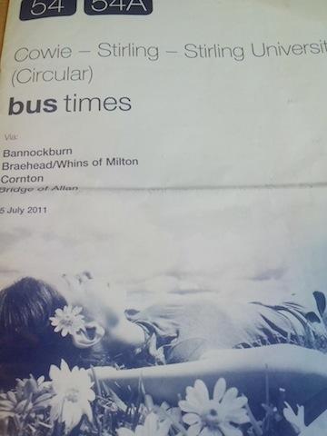 Takup kang leaflet kang bus schedule.