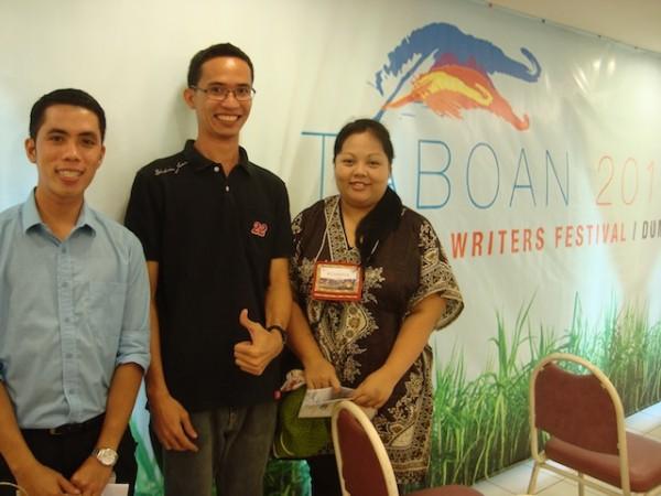 Tuo hasta Wala: Jayson Eduria Parba (Cagayan de Oro), Gil S. Montinola (Iloilo), Rowena Rose Lee (Davao), TABOAN 2013, Dumaguete City.