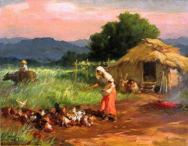 """""""Woman Feeding Chickens"""" (1955) by Fernando Amorsolo /Pearl of the Orient: Discover Old Philippines (https://www.facebook.com/DiscoverOldPhilippines)"""