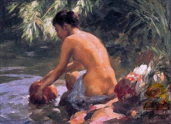 """Bather"" ni Fernando Amorsolo (1956) /Pearl of the Orient: Discover Old Philippines /https://www.facebook.com/DiscoverOldPhilippines"