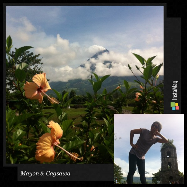 Isara sa mga pose nga ginatanyag kang manugkodak kag tour guide sa Cagsawa Ruins sa Albay
