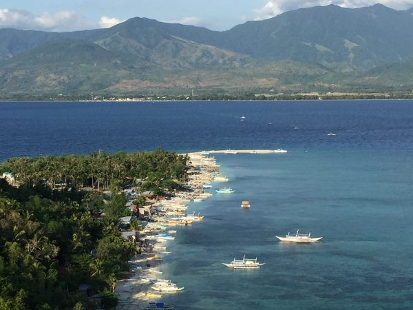 The sandbar, the sea, and the sailboats from Ralantawan (Viewing Point).